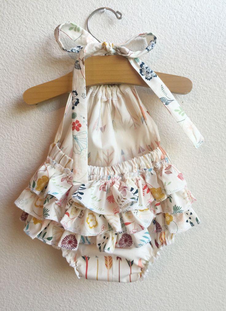 Little Arrows Ruffled Baby Girl Romper by ALittleArrow on Etsy