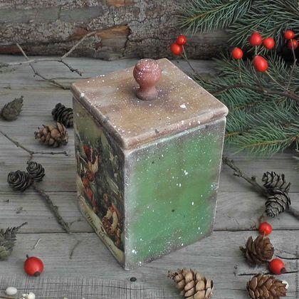 Купить или заказать 'Деревенское Рождество' Короб из Ольхи в интернет-магазине на Ярмарке Мастеров. ПРОДАНО Короб из натурального дерева - ОЛЬХА...для специй,сухофруктов,пряностей,трав.,сладостей... Использованы экологически чистые материалы,акриловые грунты, лаки, краски на водной основе.