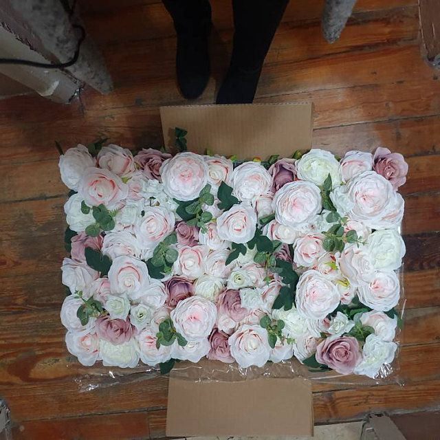 Wedding Flower Wall Panel Backdrop For Wedding Arrangement Artificial Rose Peony Flowers For Home Or Birthday Party Decoration 40 60cm In 2020 Flower Wall Wedding Flower Wall Backdrop Flower Wall