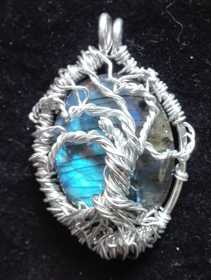 wire wrapping, labradorite, necklace jewelery, woman accesories naszyjnik, labradoryt, biżuteria, kobieta