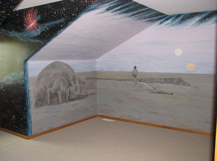 I wish I was this talented to create this Star Wars Room Mural for Alister! I really want him to have a star wars room!