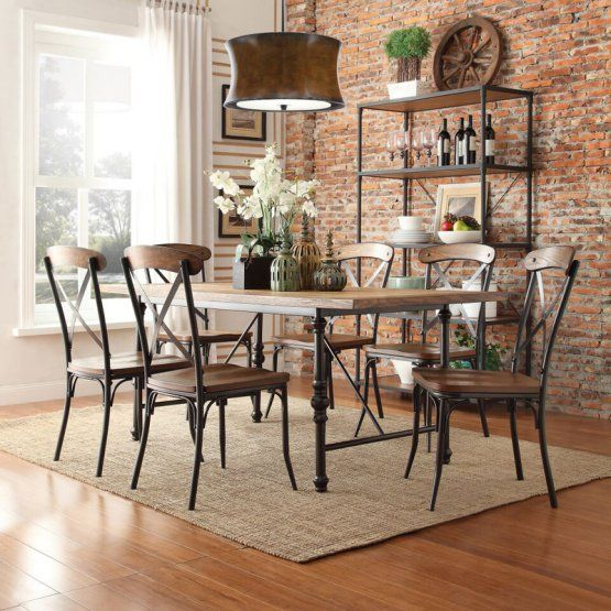 Homelegance 7 Piece Industrial Dining Set With X Back Chairs