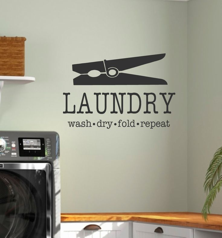LAUNDRY-Vinyl Wall Decal-Laundry Wash Dry Fold Repeat with Clothes Pin-Laundry Room Decor- Laundry Humor by landbgraphics on Etsy