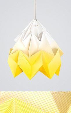 "Origamilampe, ""Moth"" gradient gul - fjeldborg.no"