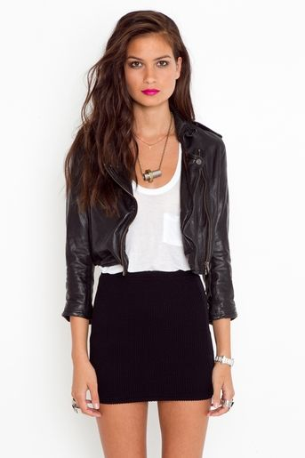 Cool Biker Look: Red Lipstick, Leather Jacket, White T, & Black Mini Skirt