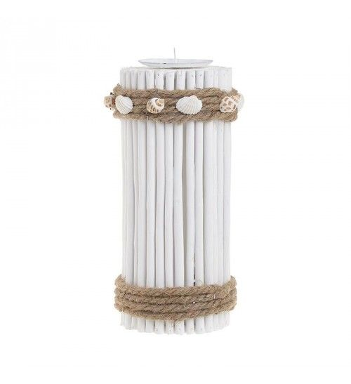 WOODEN_METAL CANDLE HOLDER W_SEASHELLS IN WHITE D11X27_5