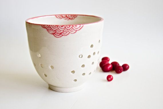 Berry Colander Berry Bowl Berry Basket Ceramic Gift for by RossLab