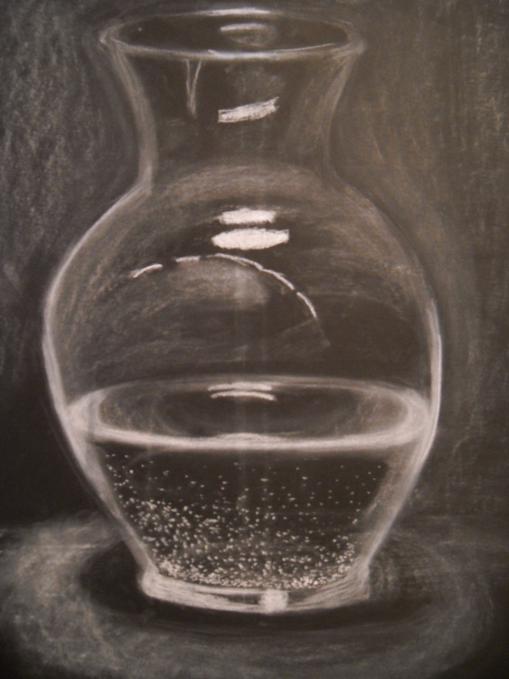 Glass Vase Filled With Water Done In White Chalk On Black Drawing