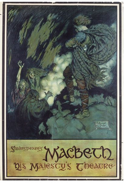 Poster for 'Macbeth' by William Shakespeare at His Majesty's Theatre, London  Colour lithograph - Illustration by Edmund Dulac - c. 1911
