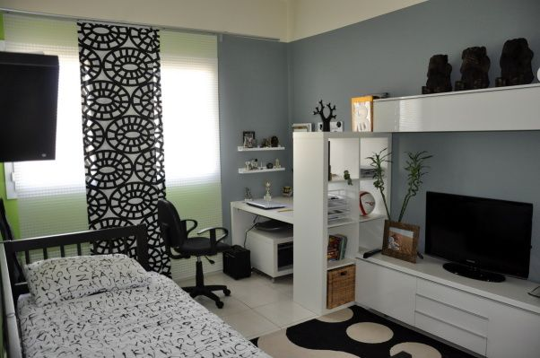 Teen boys room, My son turned 13 and wanted a more grown up room. He did the design by himself over the summer break. , All of the furniture comes from Ikea. The bookcase divides the room into work space and leisure space , Boys Rooms Design