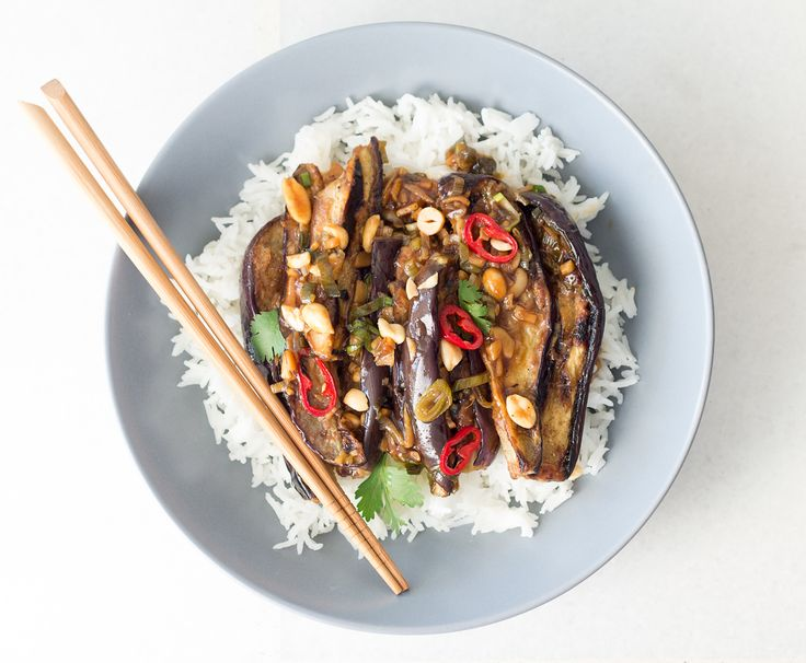 Our vegan Kung Pao chicken is a fab Jamie Oliver's recipe veganised by Lazy Cat Kitchen. Instead of chicken, we used aubergine and it worked a treat.