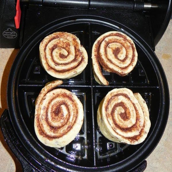 Canned refrigerated cinnamon rolls + waffle iron = cinnamon roll waffles.  Worth a try!