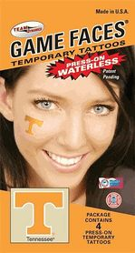 Set of 4 Tennessee UT Volunteers Vols Game Faces Waterless Temporary T Tattoos for your Tailgate Gameday Party from TeamTailgate Shop $3.25