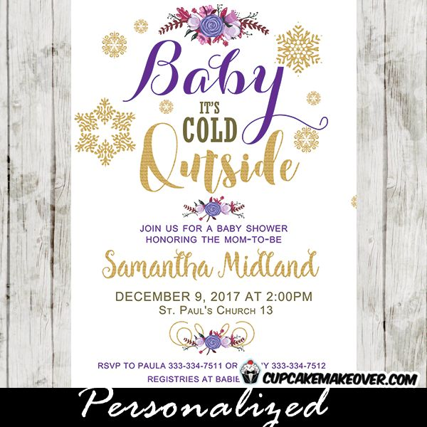 Charming Winter Baby Shower Invitations Featuring A Beautiful Bouquet Of  Flowers With Garlands Of Berries And