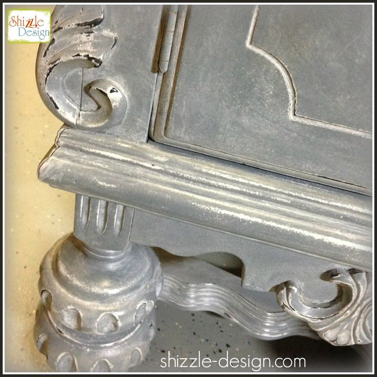 Gray Blue Antique Buffet Finished With Custom Mix Of White Glaze And White  Wax ~ By