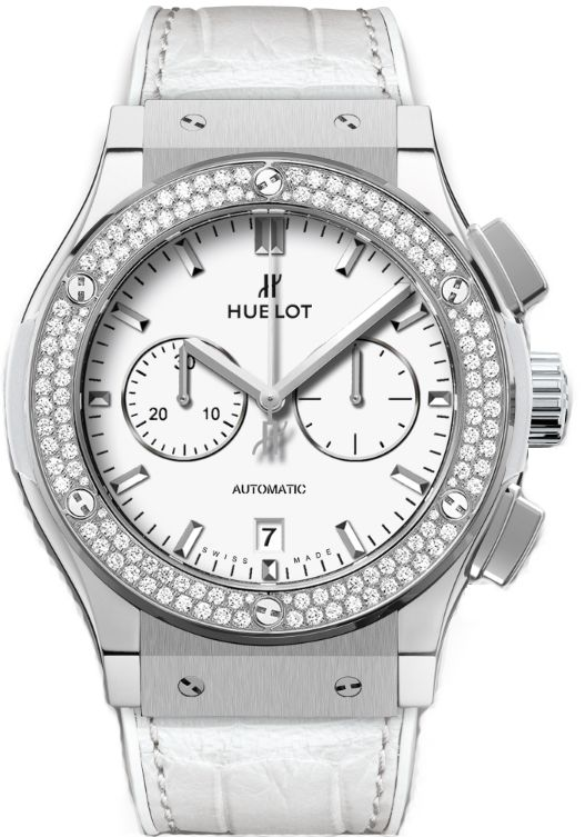 541.NE.2010.LR.1104  HUBLOT CLASSIC FUSION CHRONOGRAPH  TITANIUM WHITE DIAMONDS 45MM WATCH