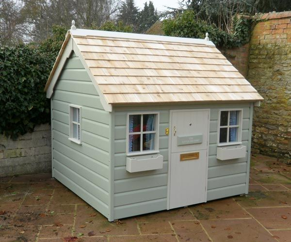 89 best images about playhouses on pinterest play houses for Wooden wendy house ideas