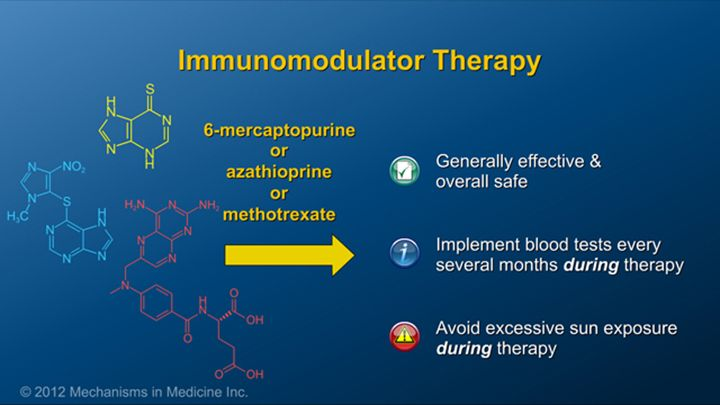 Immunomodulators such as 6-mercaptopurine, azathioprine, and methotrexate are considered quite effective and overall safe, patients on immunomodulators should have blood tests every few months and protect their skin from excessive sun exposure due to an increased risk of non-melanoma skin cancers slide show: preparing for ibd therapy. this slide show describes ways patients with inflammatory bowel disease ibd can prepare for their therapy and medications.