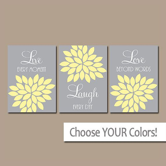 ★Yellow Gray Custom Live Laugh Love Colors Flower Burst Petals Artwork Set of 3 Trio Prints Decor Bedroom WALL ART Bathroom Nursery Baby Crib  ★Includes 3 pieces of wall art ★Available in PRINTS or CANVAS (see below)  ★SIZING OPTIONS Available from the drop down menu above the add to cart button with prices. >>>  ★PRINT OPTION Available sizes are 5x7, 8x10, & 11x14 (inches). Prints are created digitally and printed with UltraChrome Hi-Gloss ink on professional 68lb satin luster photo paper…