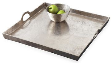 Morton Square Mixed Silver Metal Contemporary Serving Tray transitional-serving-trays