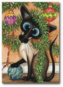 Siamese Cat Christmas Tree Ornaments Bulbs Holiday Art by BiHrLe Le Print ACEO | eBay