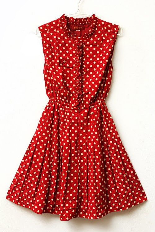 Miss Hattie - Crimson and White Polka Dot Ruffle Dress