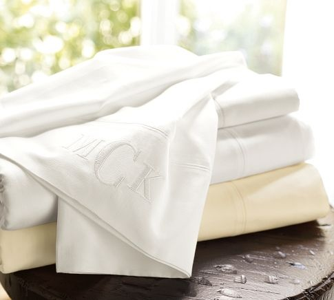 Beach House 700-Thread-Count Sheet Set, Full, White with Gray Embroidery