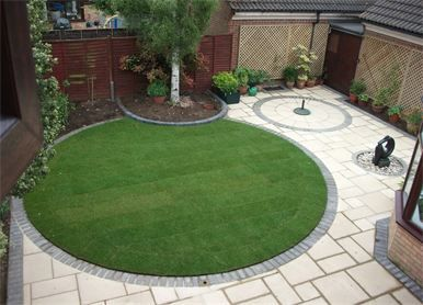 Circular lawn  and low maintenance landscape