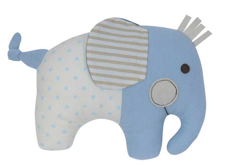 Adorable blue Elephant Softie Rattle by Tiger Tribe!  Made from soft jersey and cotton fabrics in a lovely blend of decor colours - a beautiful and unique baby gift!  #babygift #babyboy #babygirl #babytoys #babyroom #babynursery #babyshop #tigertribe #littlebooteek