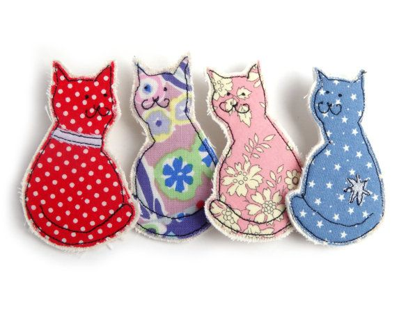 Colourful cat brooch. Fabric feline brooch hand made by machine free-motion embroidery and textile appliqué. Customise / custom made. £7.99 each. Click for more info!