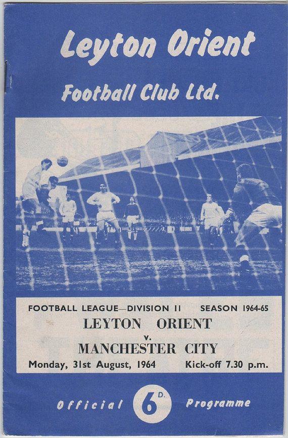 Vintage Football (soccer) Programme - Leyton Orient v Manchester City, 1964/65 season