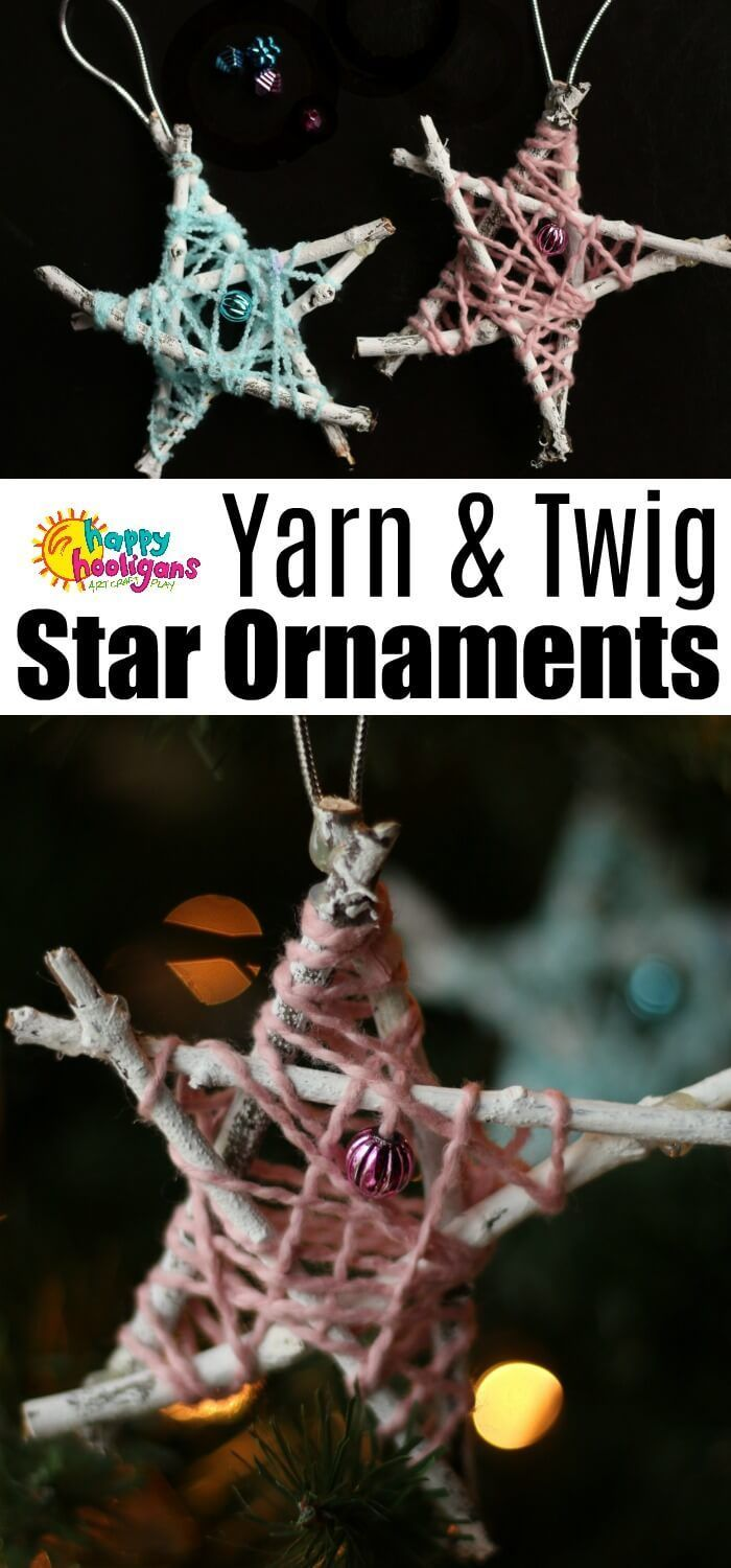 Yarn and Twig Star Ornaments for Kids to Make