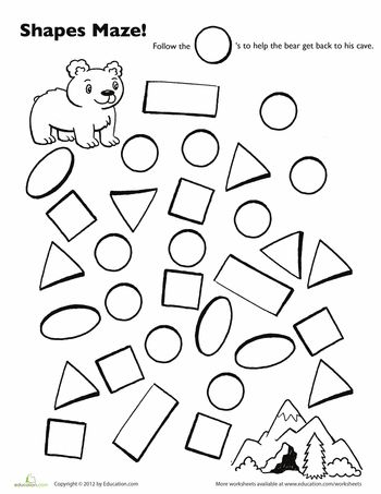 Worksheets: A-maze-ing Shapes: Follow the Circles: Adapt to Spanish classroom by converting the English text to Spanish