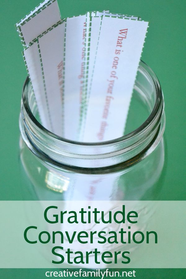 How do you get your kids talking about gratitude? Print out these Gratitude Conversation Starters and get the conversation going.