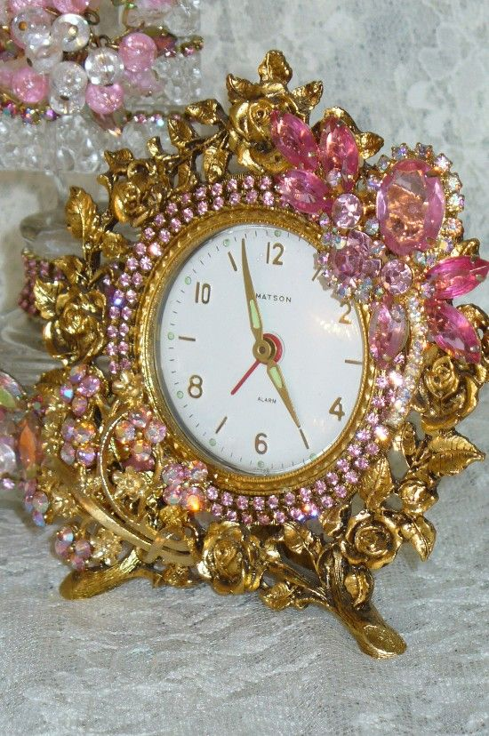 A Beautiful Vintage Alarm Clock 16 Pink Bejeweled Stunning