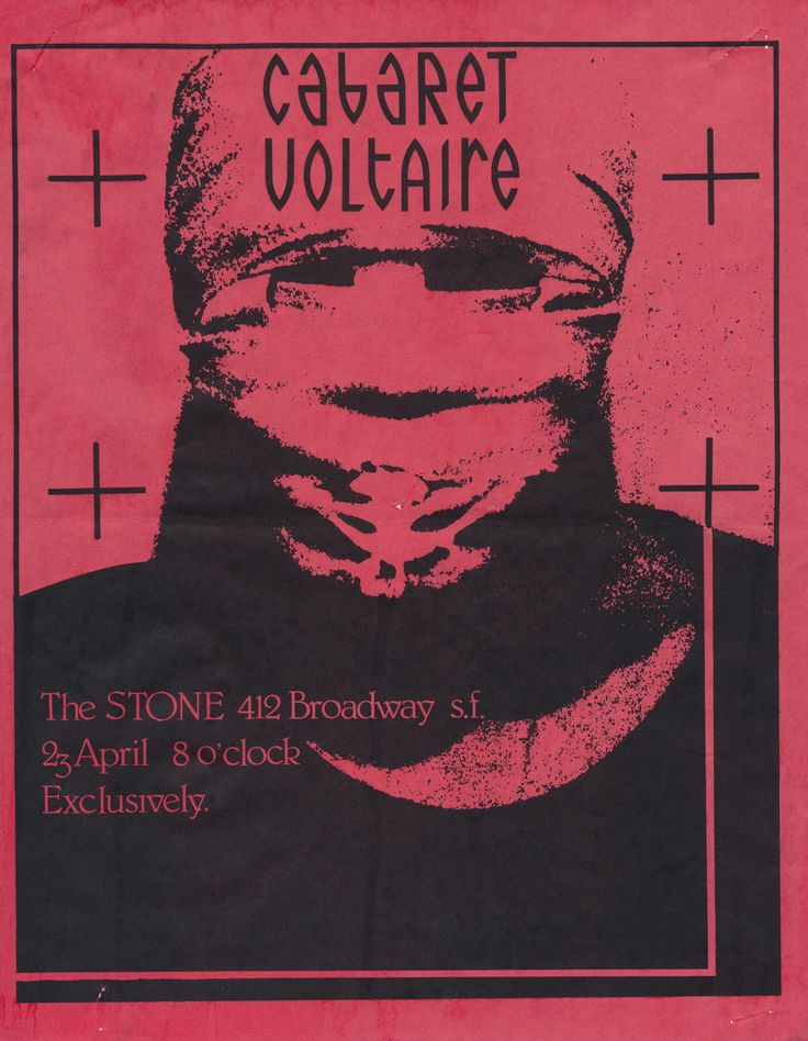 A flyer for the band Cabaret Voltaire from The Stone in San Francisco, 1985, from the collection of Stephen Perkins. Dozens of flyers that Perkins collected over a ten year period in San Francisco are featured in a chapter of the new Public...