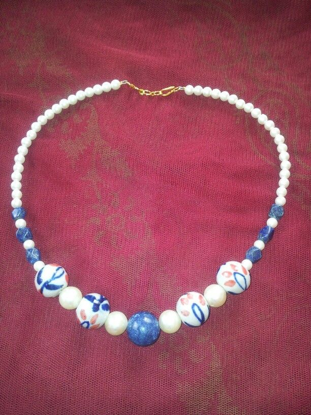 Pearl with ceramic beads necklace. Leesa Shah's creation!