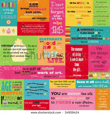Birthday Quotes | Colorful Birthday Quotes Stock Photo 34959424 : Shutterstock