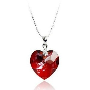 Valentines Day Gifts Swarovski Austrian Crystal Elements Sterling Silver Heart Pendant Necklace - Royal Red