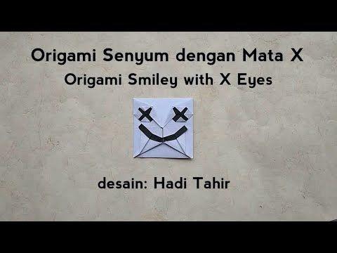 Origami Crossed Out Eyes Smiley (paper marshmello helmet/mask) Tutorial