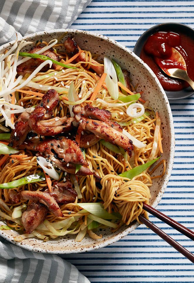 Stir-fried dishes like chicken chow mein cook very quickly over high heat. The key is to have all your ingredients ready before you begin cooking.