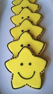 Smiley Face Star sugar cookies