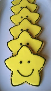 Smiley Face Star sugar cookies