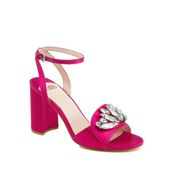 Faith Pink satin 'Dec' high block heel