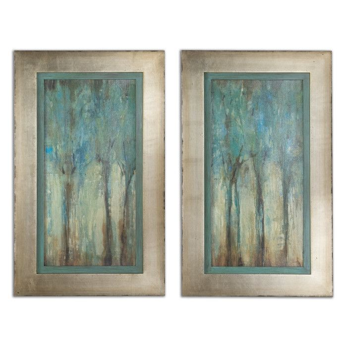 Blue Trees Framed Wall Art Painting Set Of 2 Scenario Home