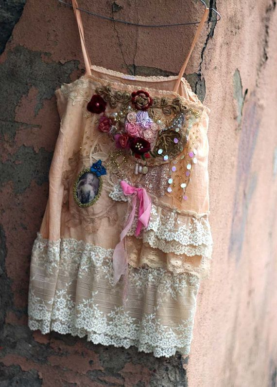 Baroque top  bohemian shabby chic top embroidered and
