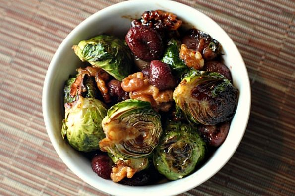 Easy Thanksgiving Side Dish:  Roasted Brussels Sprouts With Grapes And Walnuts