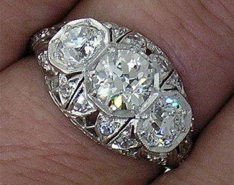 3 Édouardienne européenne Pierre coupe diamant bague en filigrane magnifique montage