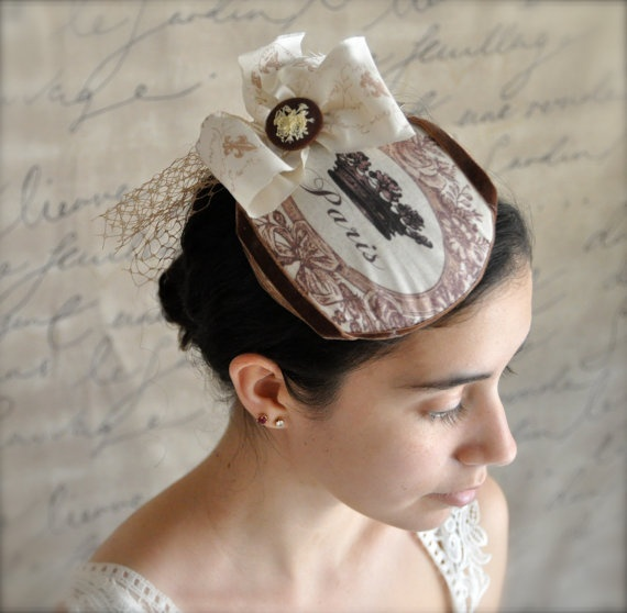 Paris Mini Hat. French chocolate brown graphic design on a comb.