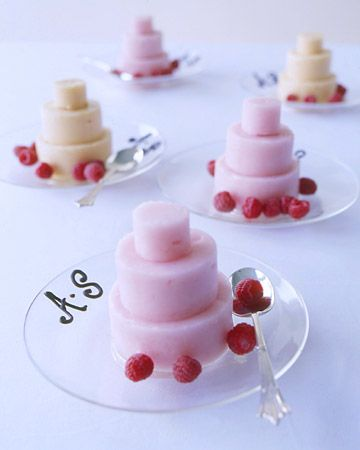 "As a prelude to the wedding cake (or in place of it), give each guest a miniature version molded from sorbet, a palate cleanser. For a sweet decoration, the bride's and groom's initials are piped in chocolate along the edge of each plate, and the sorbet ""cake"" is garnished with raspberries."